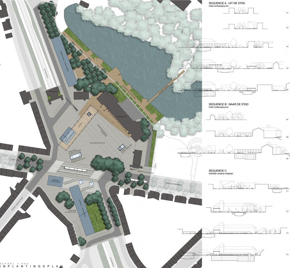 plan de la place communale de Mortsel