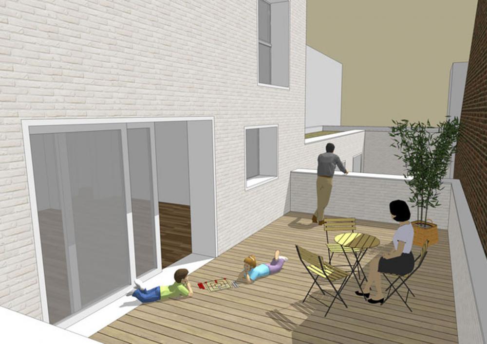vue de la terrasse du duplex des logements Terre Neuve