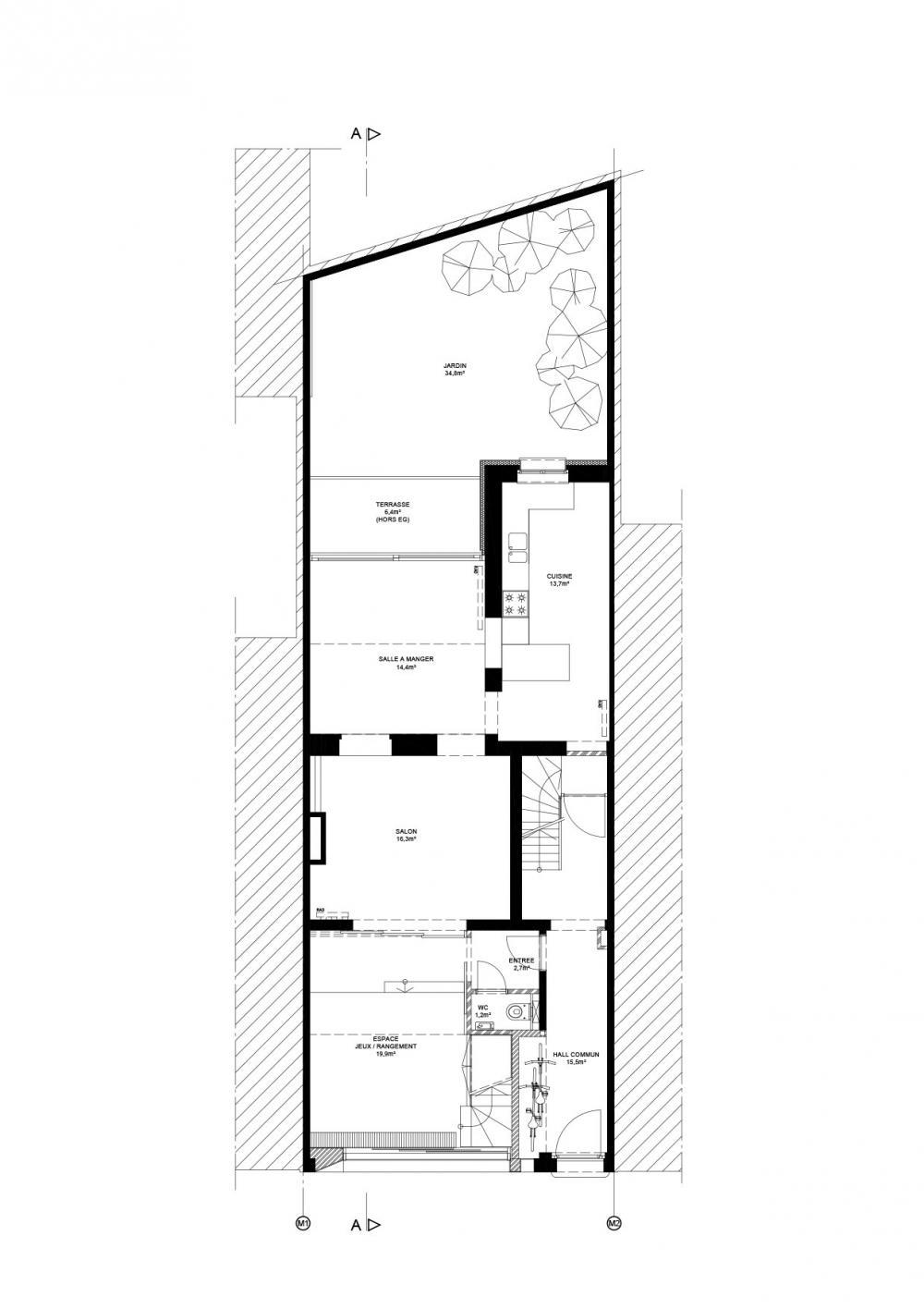 plan du rez-de-chaussée de la maison Dublin
