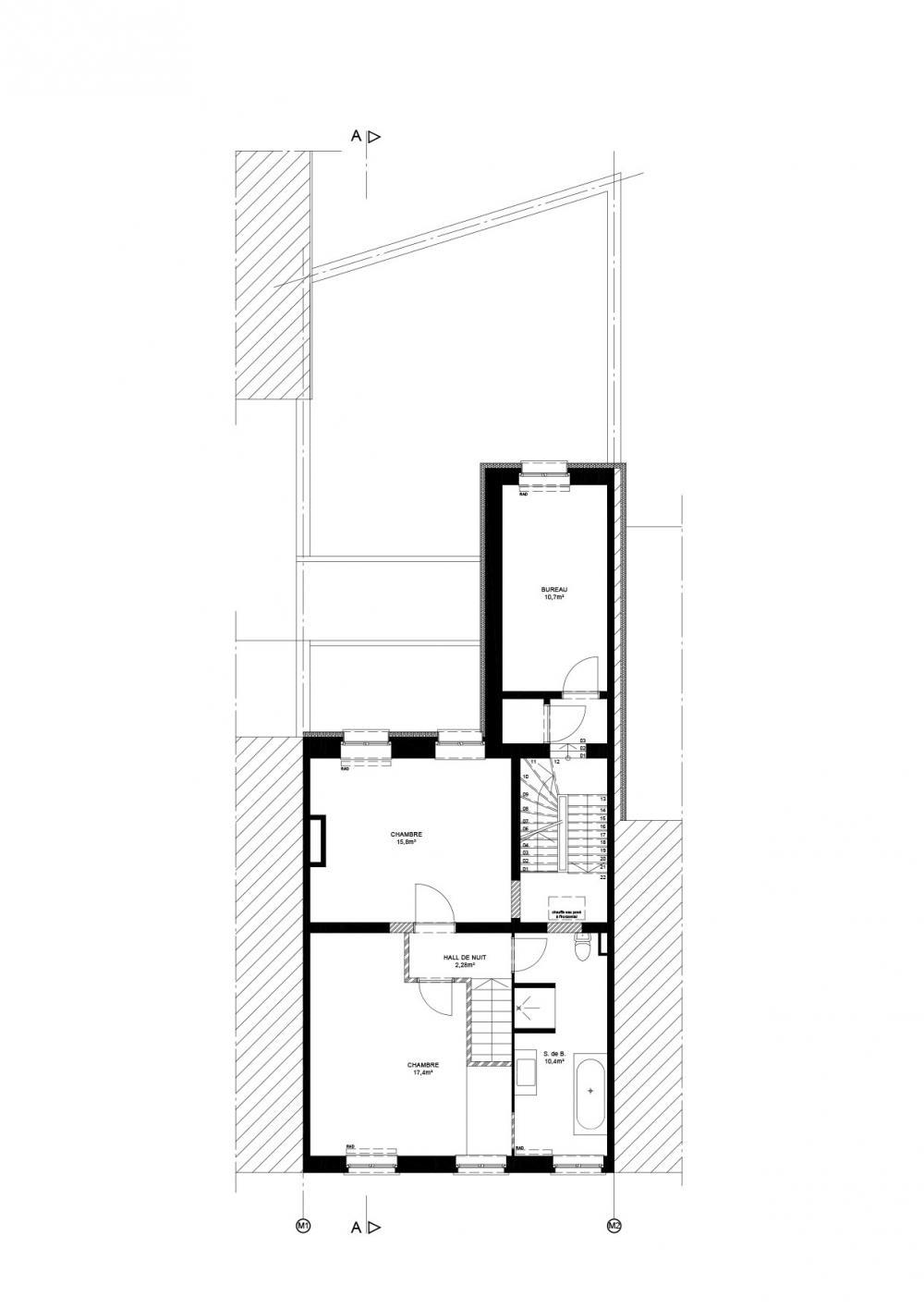 plan du premier étage de la maison Dublin