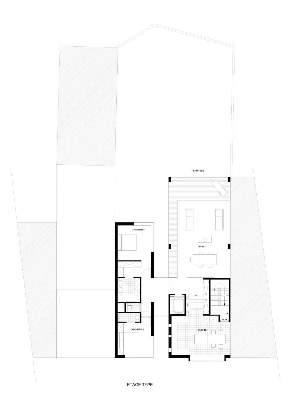 plan d'un étage type des logements Hector Denis