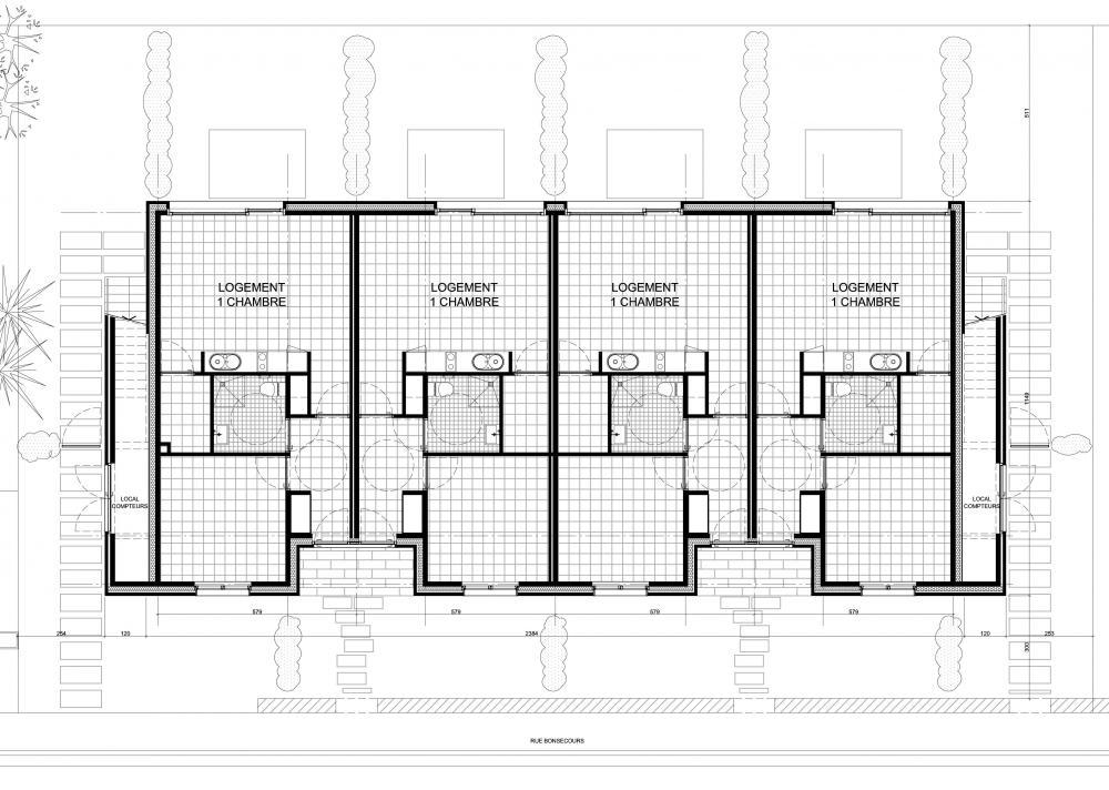 plan du rez-de-chaussée des logements Bonsecours