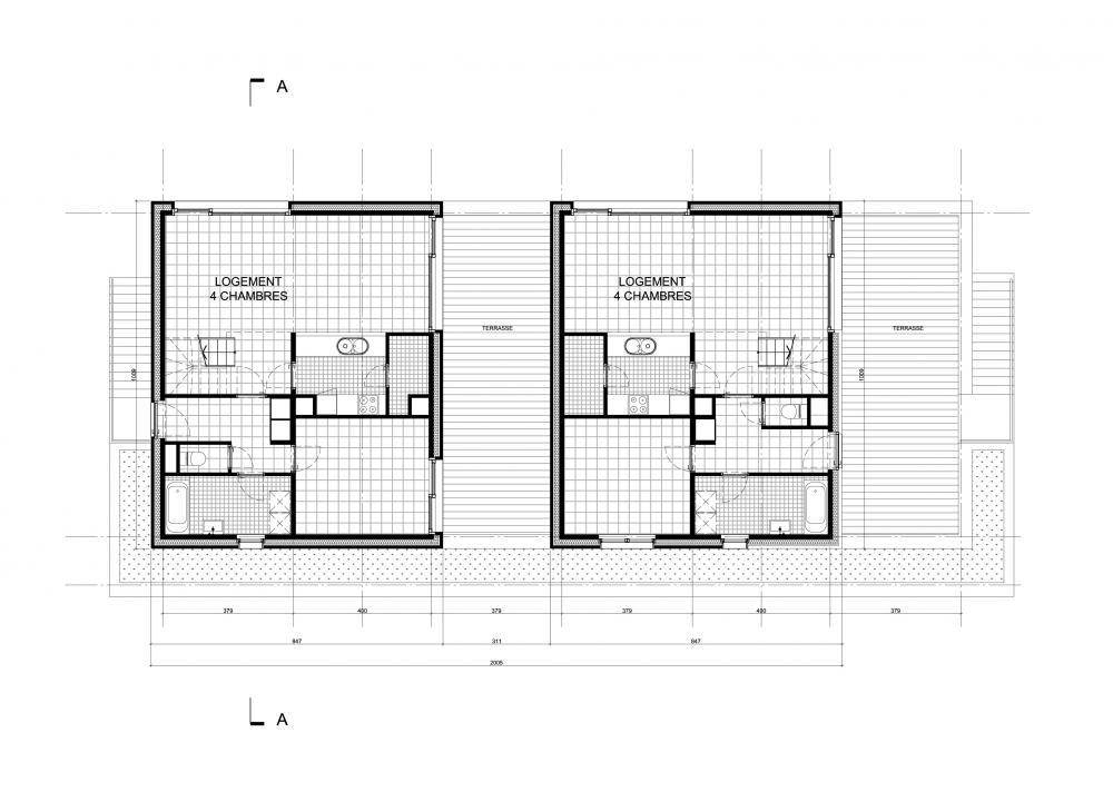 plan du premier étage des logements Bonsecours