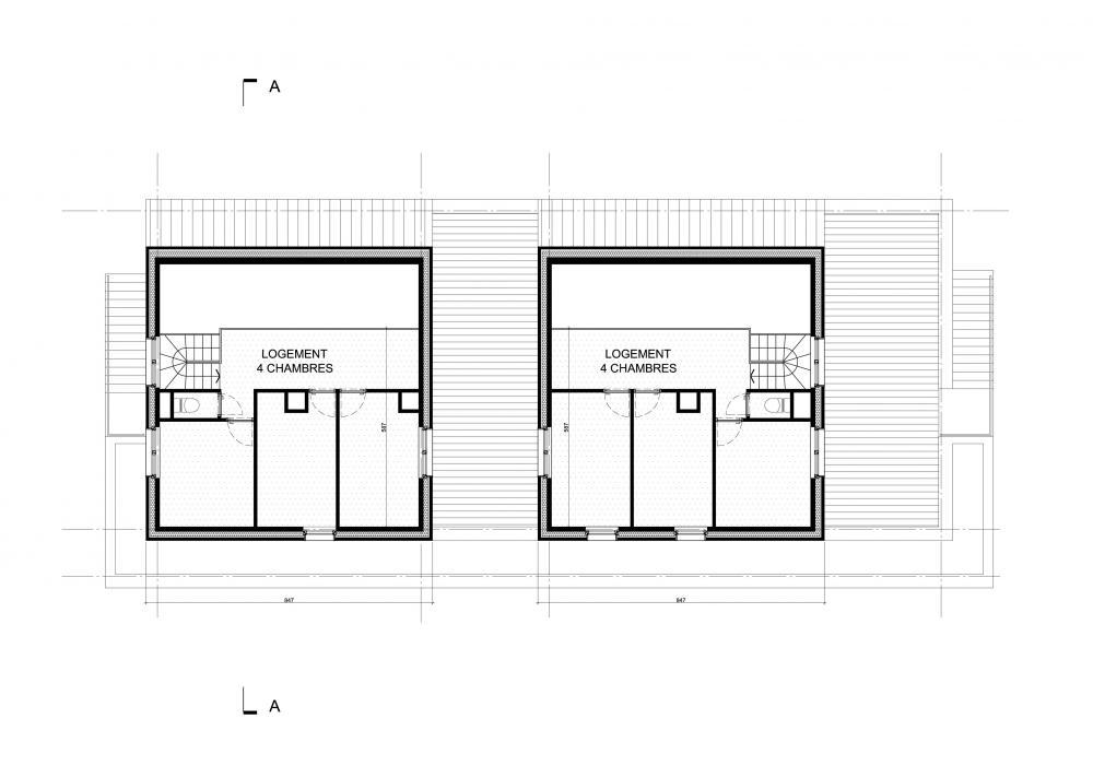 plan du second étage des logements Bonsecours
