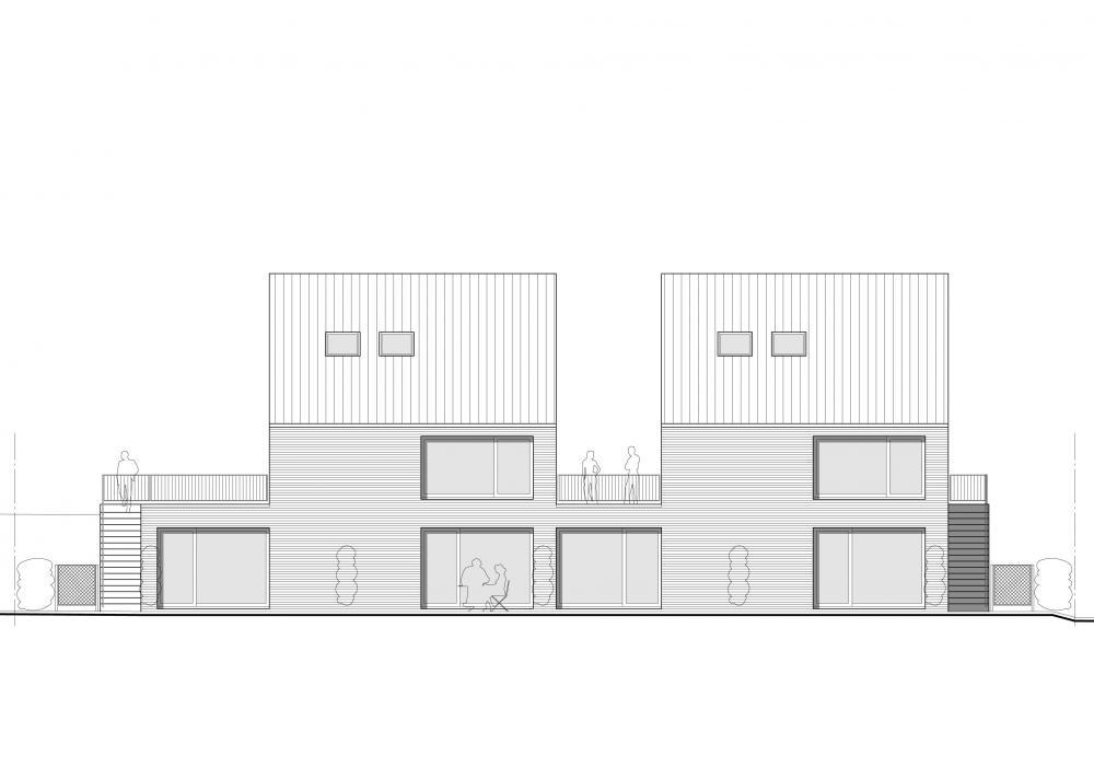 façade jardin des logements Bonsecours
