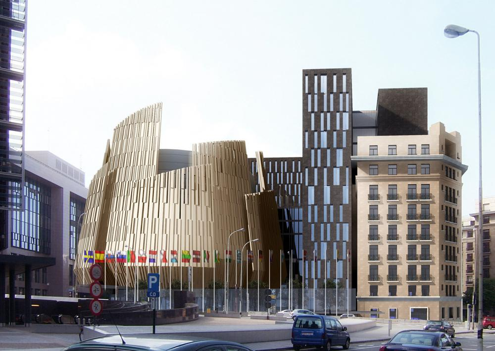 vue du Conseil Européen depuis le Boulevard Charlemagne