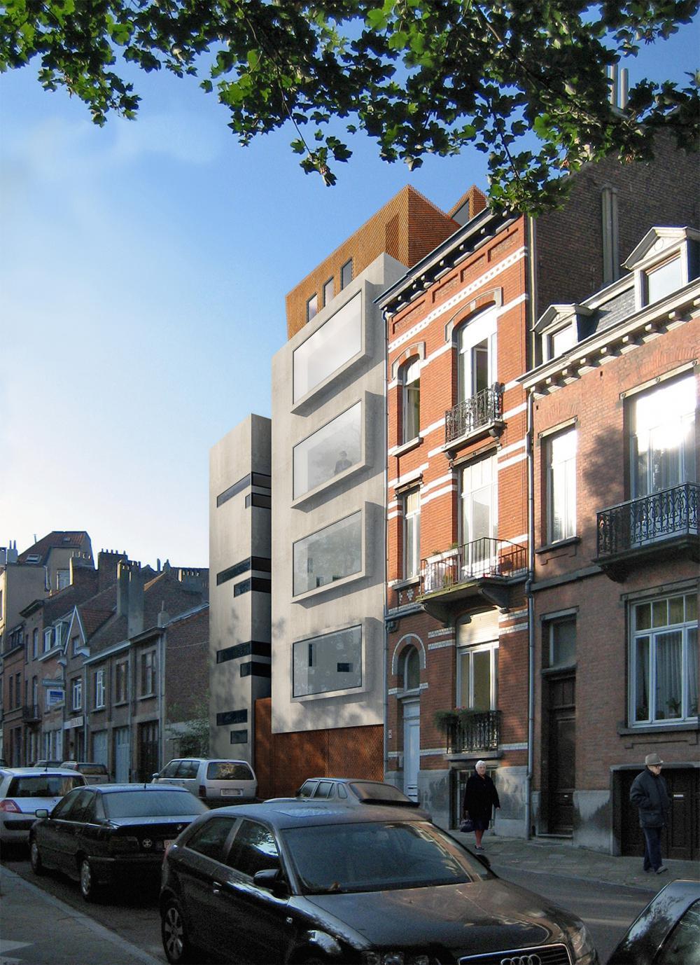 vue de la façade rue des logements Hector Denis