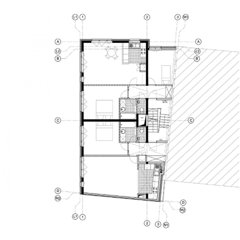 plan du premier étage des logements Jérusalem