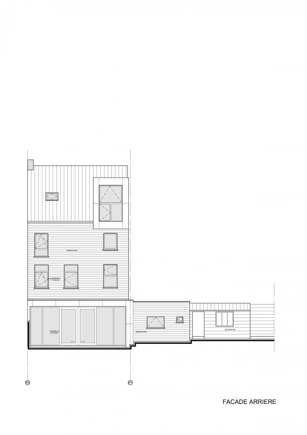 plan de la façade côté jardin