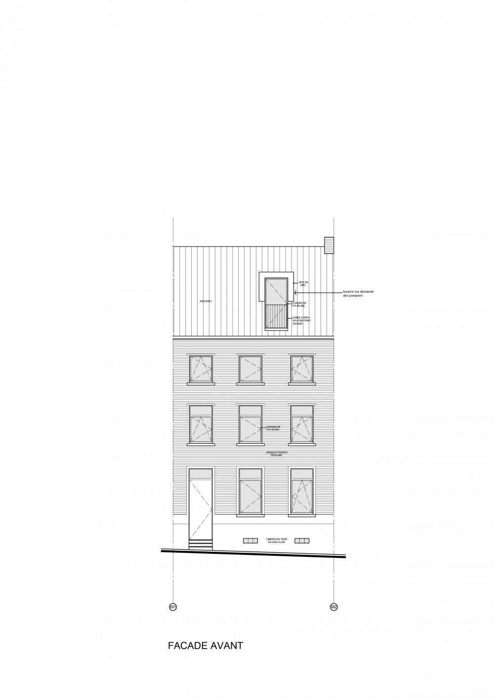 plan de la façade à rue