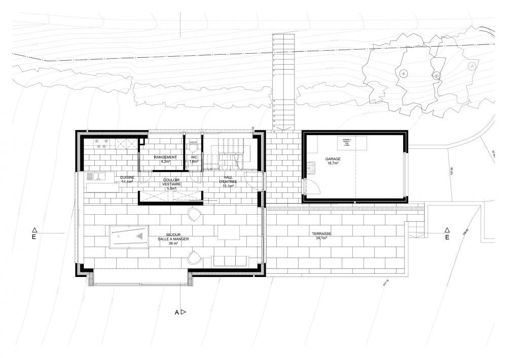 plan du rez-de-chaussé de la maison Ranimé