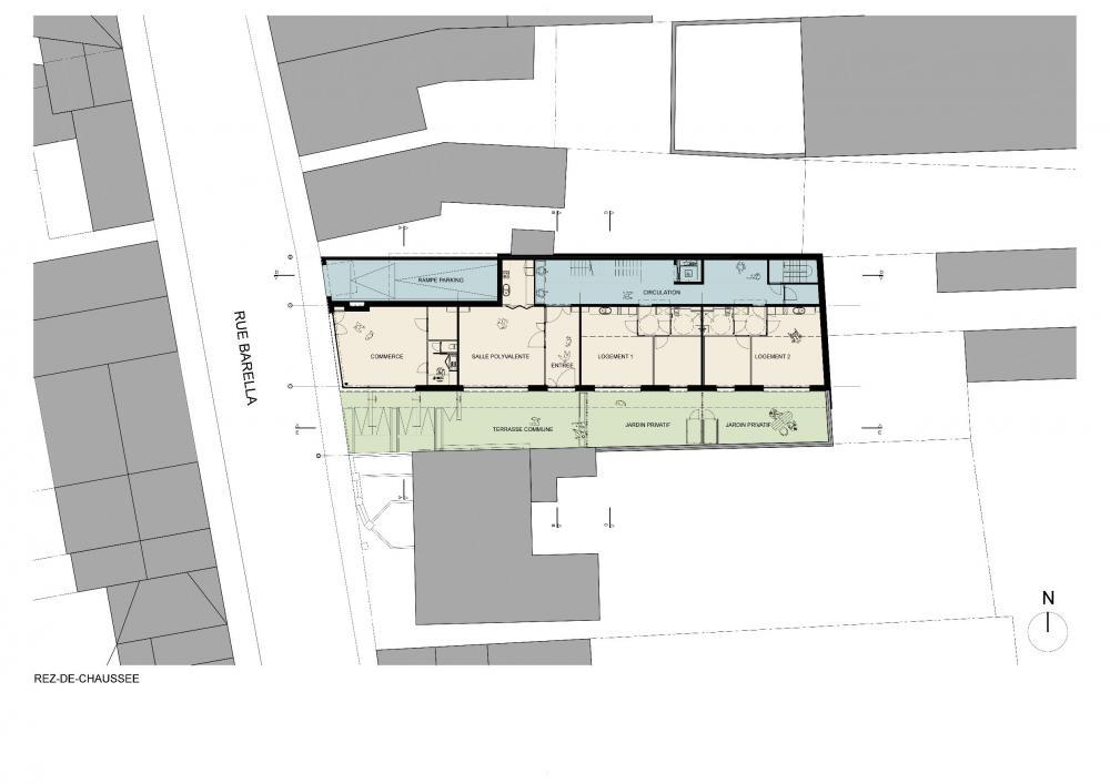 plan du rez-de-chaussée avec fonctions