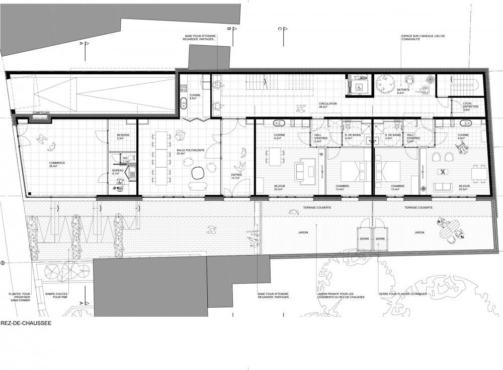 plan du rez-de-chaussée détaillé