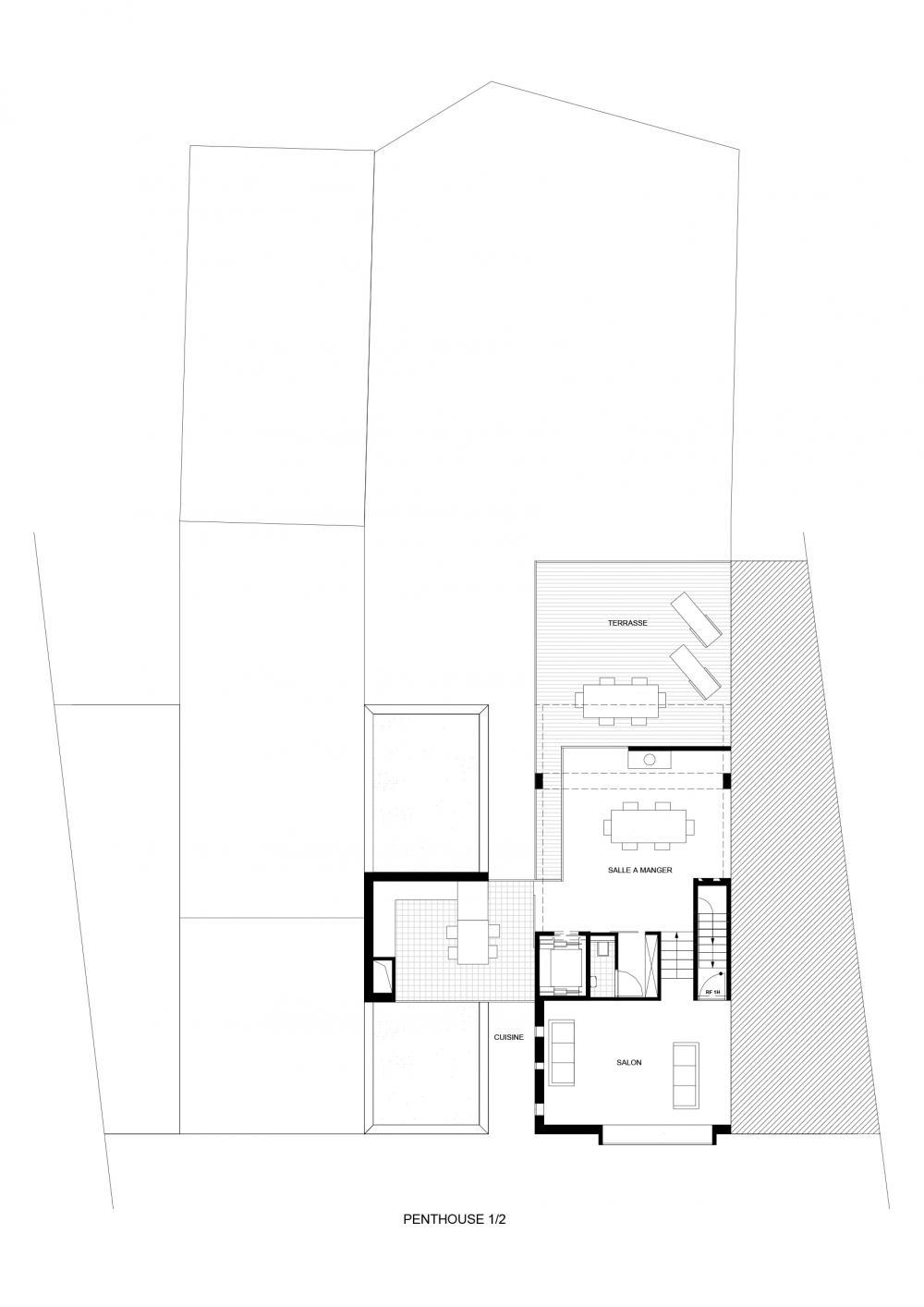 plan du niveau d'entrée du duplex des logements Hector Denis