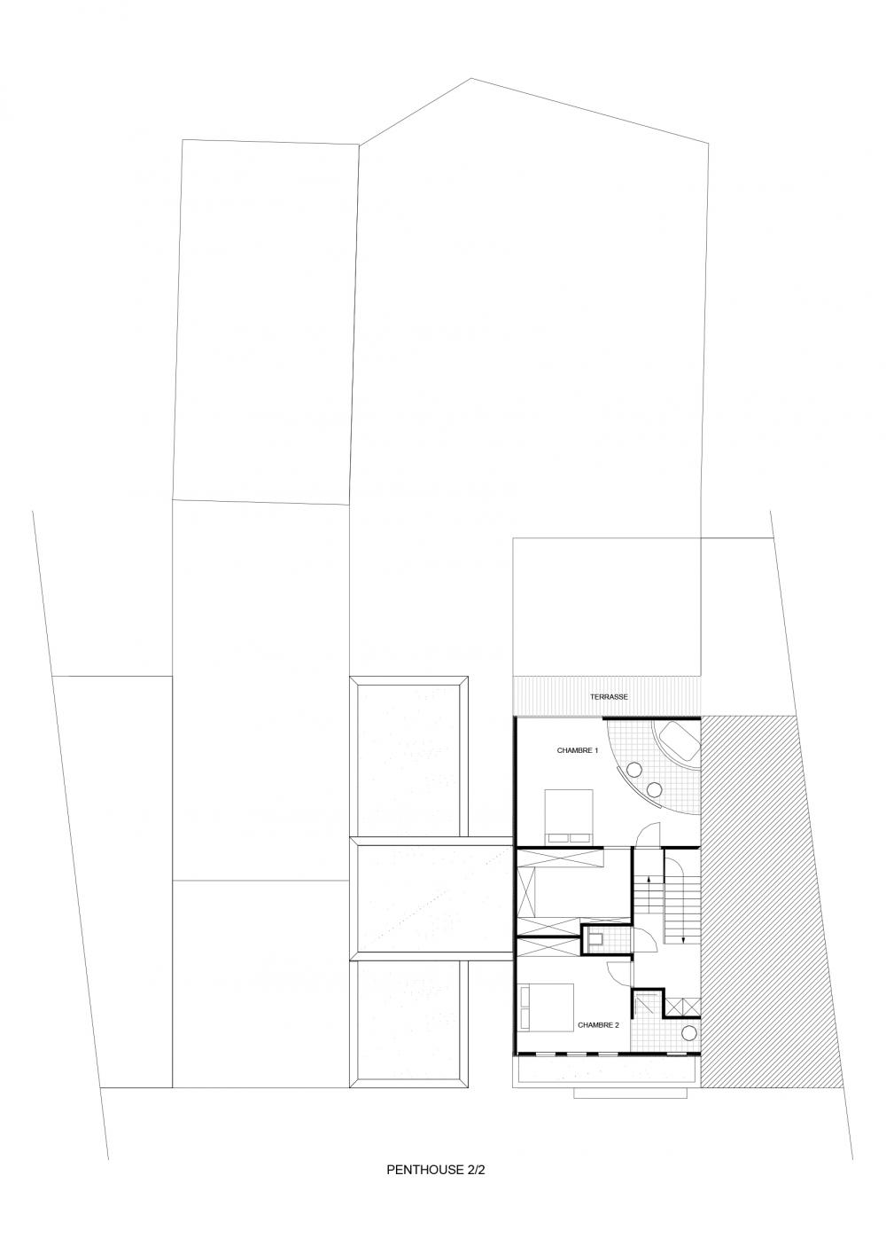 plan du supérieur du duplex des logements Hector Denis