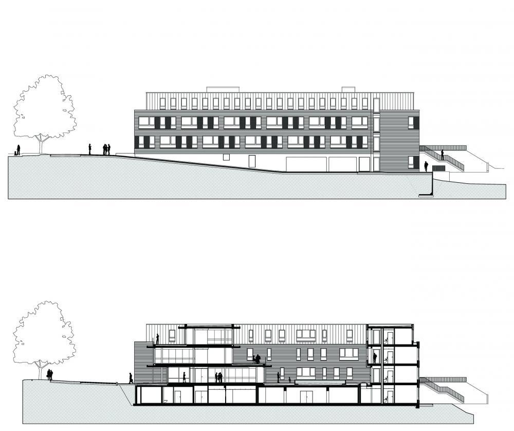 plan de la façade sud et coupe longitudinale