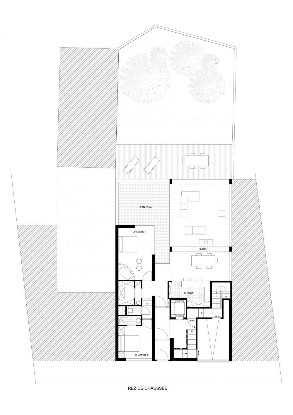 plan du rez-de-chaussée des logements Hector Denis