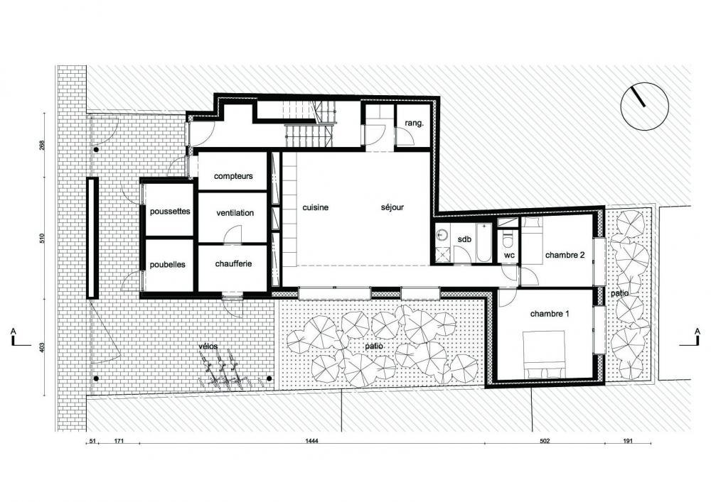plan du rez-de-chaussée des logements Terre Neuve
