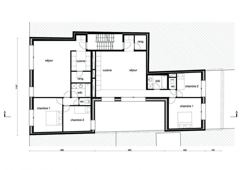 plan du premier étage des logements Terre Neuve