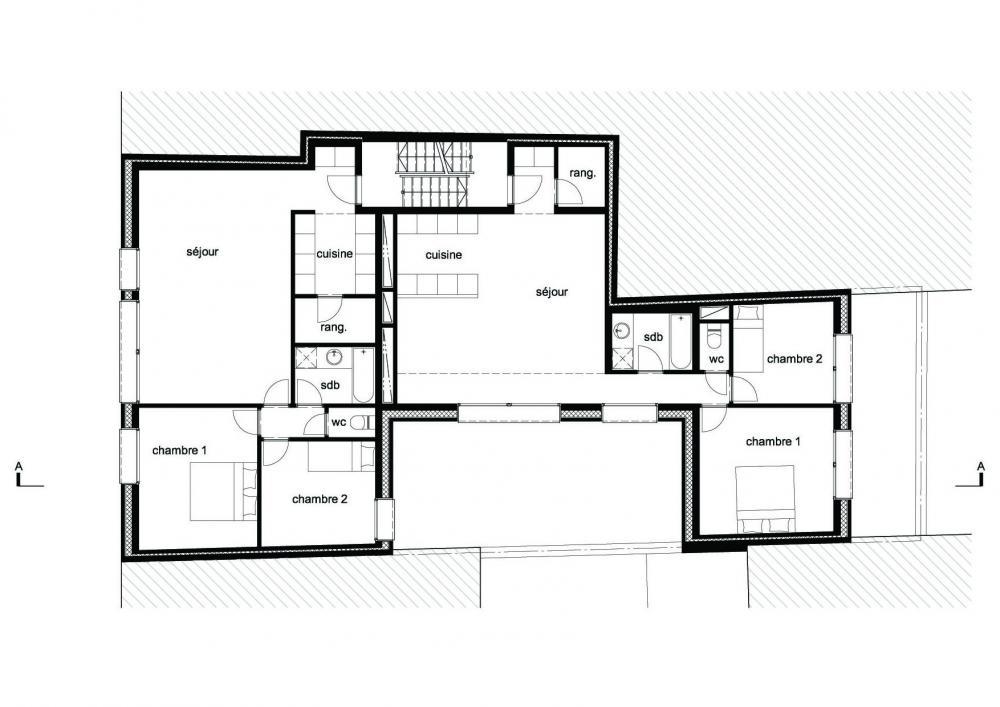 plan du second étage des logements Terre Neuve