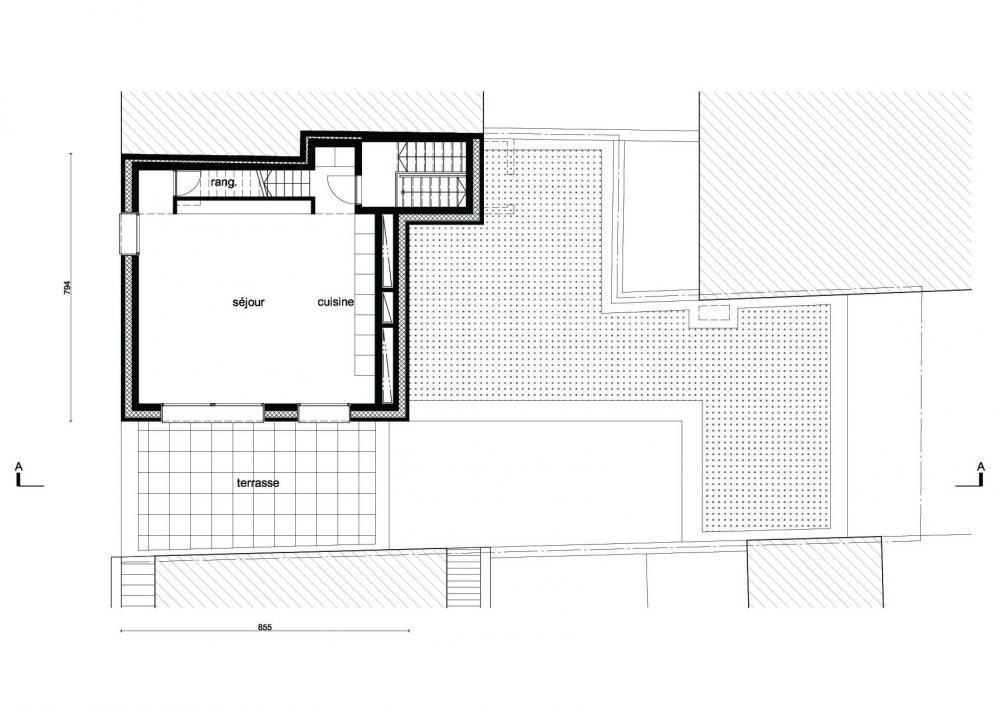 plan du niveau d'entrée du duplex des logements Terre Neuve