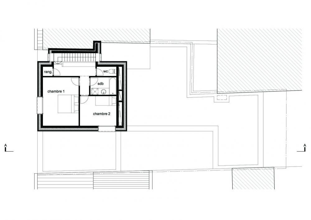plan du niveau supérieur du duplex des logements Terre Neuve