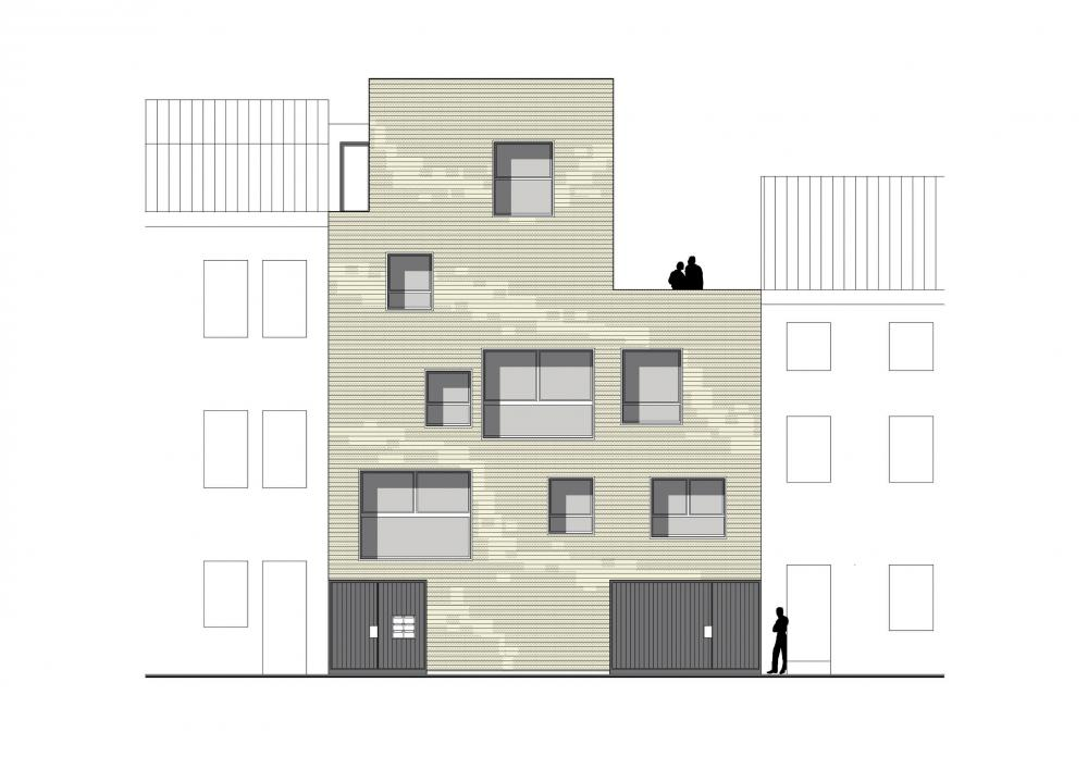 façade à rue des logements Terre Neuve