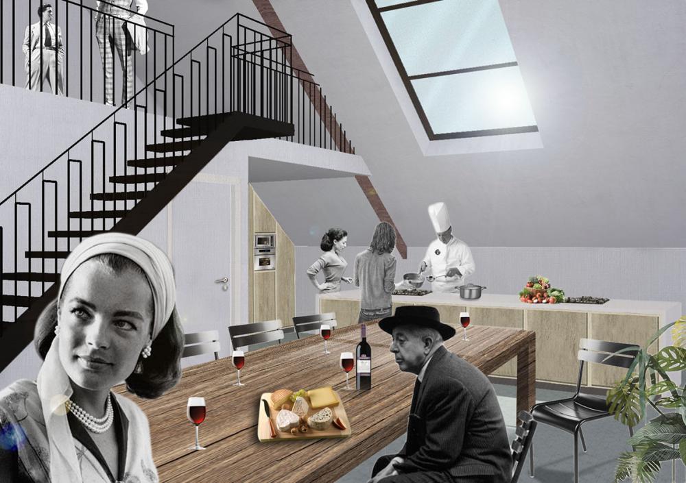 vue intérieure des combles salle pour cours de cuisine