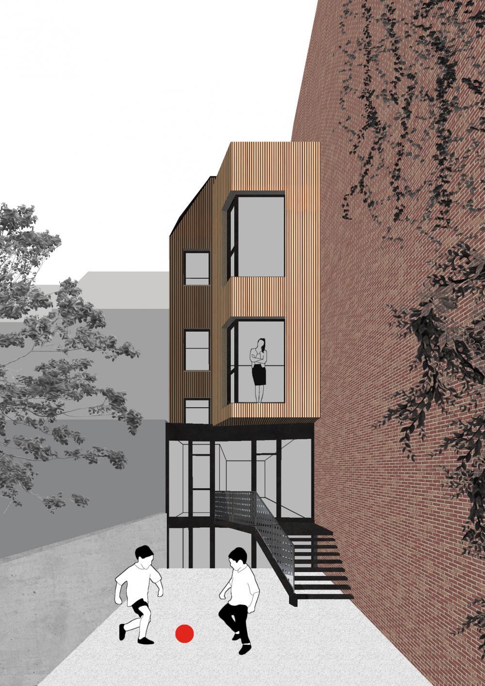 vue de la façade arrière maison hipprodrome